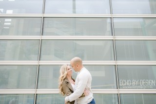Schuster Center Dayton Engagement Photo downtown with couple